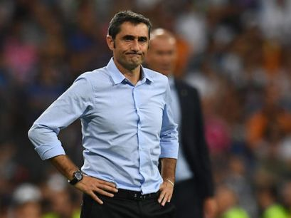Barcelona's coach Ernesto Valverde stands on the sideline during the second leg of the Spanish Supercup football match Real Madrid vs FC Barcelona at the Santiago Bernabeu stadium in Madrid, on August 16, 2017. / AFP PHOTO / GABRIEL BOUYS (Photo credit should read GABRIEL BOUYS/AFP/Getty Images)